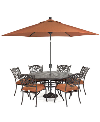 Chateau outdoor cast aluminum 7 pc dining set 60 round for Outdoor dining sets for 6 round table