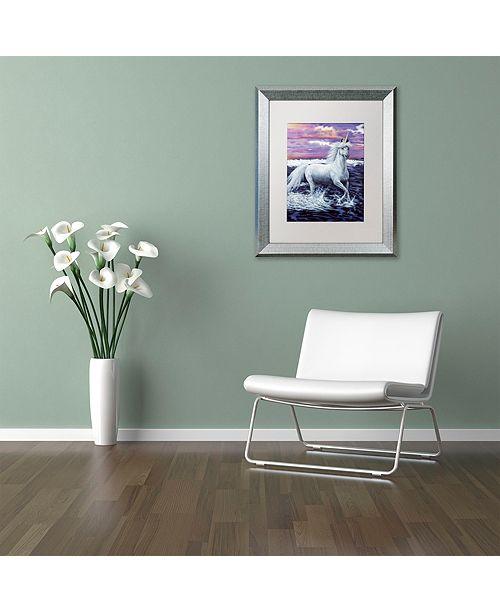 "Trademark Global Jenny Newland 'Unicorn' Matted Framed Art, 16"" x 20"""