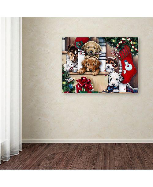 "Trademark Global Jenny Newland 'Christmas Puppies On The Loose' Canvas Art, 18"" x 24"""