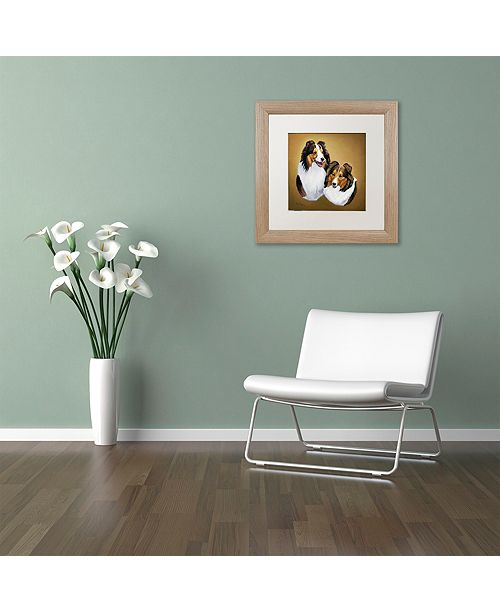 "Trademark Global Jenny Newland 'Collies 2' Matted Framed Art, 11"" x 11"""
