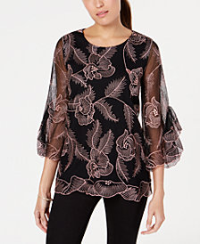 Alfani Petite Embroidered Flounce-Sleeve Top, Created for Macy's