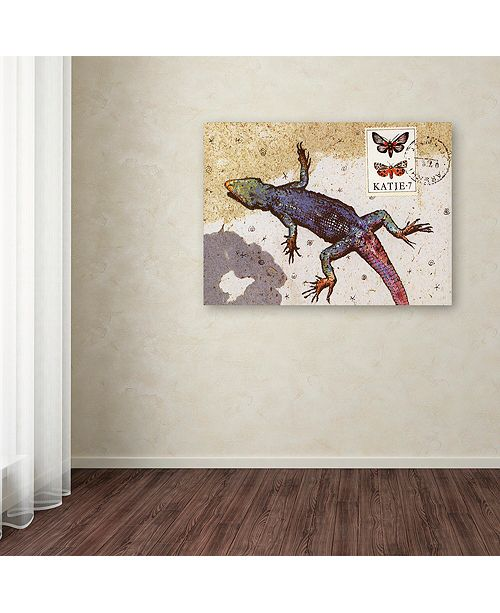 "Trademark Global Nick Bantock 'Rainbow Lizard' Canvas Art, 14"" x 19"""