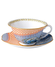 Wedgwood Dinnerware, Blue Peony Cup and Saucer