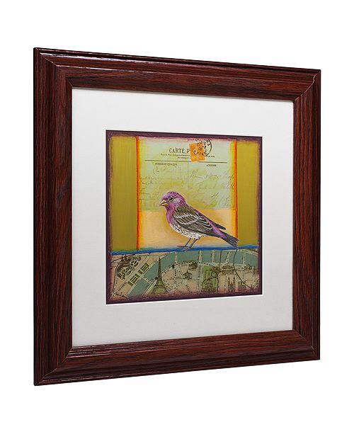 """Trademark Global Rachel Paxton 'Purple Finch' Matted Framed Art, 11"""" x 11"""""""