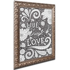 """Hello Angel 'Live Laugh Love Black' Ornate Framed Art, 16"""" x 20"""""""