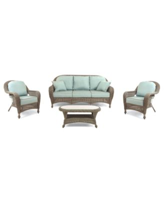 Sandy Cove Outdoor Wicker 4-Pc. Seating Set (1 Sofa, 2 Club Chairs and 1 Coffee Table), Created for Macy's