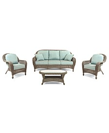 Sandy Cove Outdoor Wicker 4-Pc. Seating Set (1 Sofa, 2 Club Chairs and 1 Coffee Table), with Sunbrella® Cushions, Created for Macy's