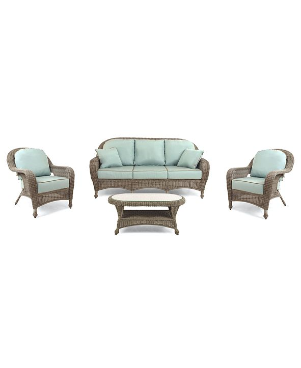 Furniture Sandy Cove Outdoor Wicker 4-Pc. Seating Set (1 Sofa, 2 Club Chairs and 1 Coffee Table), with Sunbrella® Cushions, Created for Macy's