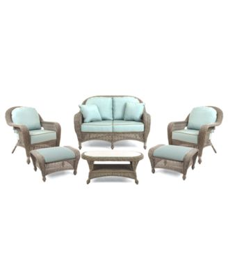 Sandy Cove Outdoor Wicker 6-Pc. Seating Set (1 Loveseat, 2 Club Chairs, 2 Ottomans and 1 Coffee Table), Created for Macy's