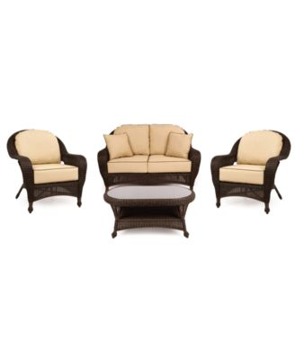 Monterey Outdoor Wicker 4-Pc. Seating Set with Sunbrella® Cushions  (1 Loveseat, 2 Club Chairs and 1 Coffee Table), Created for Macy's