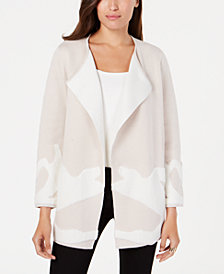 Alfani Abstract-Pattern Double-Knit Sweater Coat, Created for Macy's