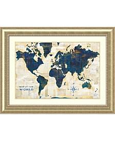 World Map Collage Framed Art Print