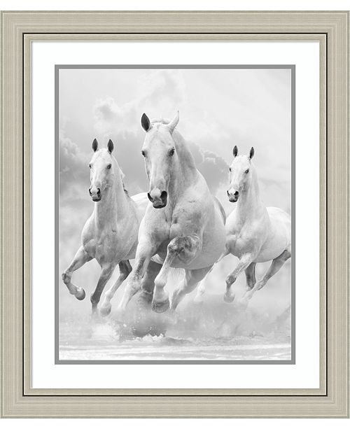 Amanti Art White Stallion Race 24x28 Framed Art Print - Home - Macy\'s