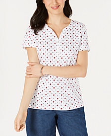 Karen Scott Printed Short-Sleeve Henley Top, Created for Macy's