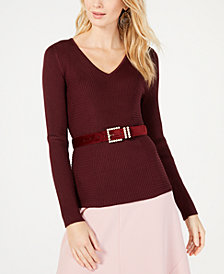 I.N.C. Ribbed V-Neck Sweater, Created for Macy's