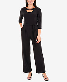NY Collection Tie-Waist Neckline-Cutout Jumpsuit