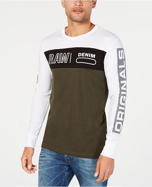 G Star Raw Men's Long Sleeve Colorblocked Logo T Shirt