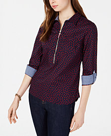Tommy Hilfiger Cotton Printed Popover Shirt, Created for Macy's