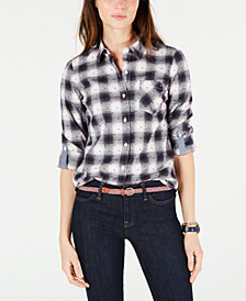 Tommy Hilfiger Cotton Plaid Utility Shirt, Created for Macy's