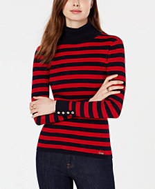Tommy Hilfiger Cotton Striped Turtleneck Sweater, Created for Macy's