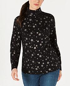Karen Scott Petite Metallic Snowflake Mock Turtleneck Top, Created for Macy's