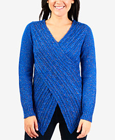 NY Collection Pointelle-Knit Cross-Front Sweater