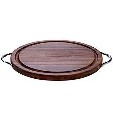 Certified International Acacia Wood Round Cutting Board w/Metal Handles