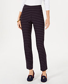Charter Club Cambridge Petite Floral-Print Tummy-Control Pants, Created for Macy's