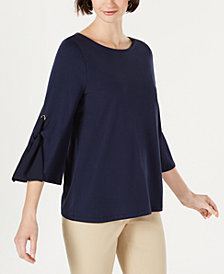 Charter Club Tie-Sleeve Top, Created for Macy's