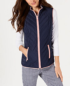 Charter Club Contrast-Trim Zip-Front Vest, Created for Macy's