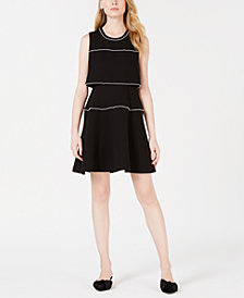Maison Jules Pearl-Trim Fit & Flare Dress, Created for Macy's