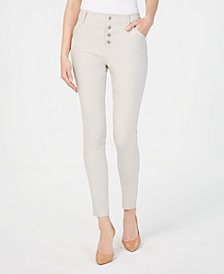 I.N.C. Curvy Exposed-Button Curvy-Fit Skinny Pants, Created for Macy's