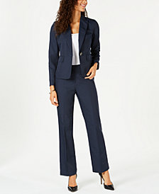 Le Suit Petite One-Button Pinstriped Pantsuit