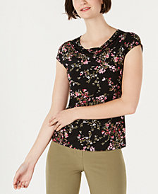 Nine West Floral-Print Cowl-Neck Top
