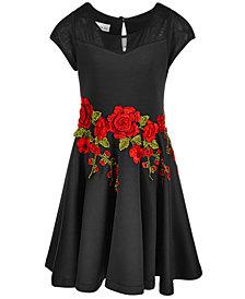 Bonnie Jean Big Girls Rose-Trim Scuba Dress