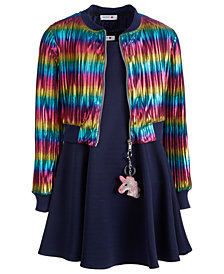 Beautees Big Girls 2-Pc. Rainbow Bomber Jacket & Dress Set