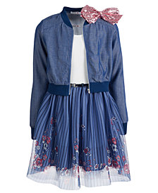 Beautees Big Girls 3-Pc. Bomber Jacket, Dress & Hair Bow Set