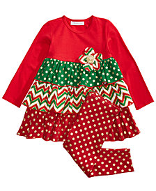Bonnie Jean Toddler Girls 2-Pc. Holiday Ruffle Tunic & Leggings Set