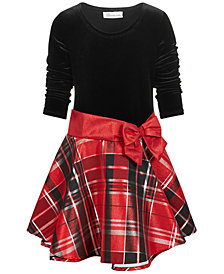 Bonnie Jean Toddler Girls Metallic Plaid Drop Waist Dress