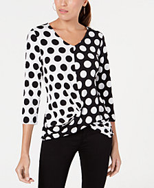 Alfani Dot-Print Draped Top, Created for Macy's