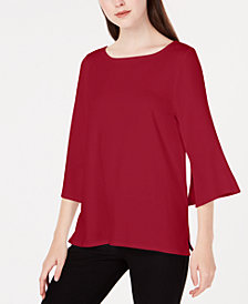 Eileen Fisher Stretch Jersey Bell-Sleeve Top, Regular & Petite