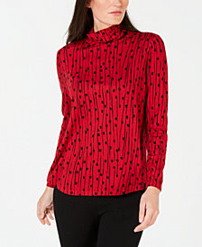 JM Collection Petite Printed Turtleneck Top, Created for Macy's