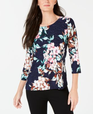 b3ad06b0043f1 JM Collection Petite 3 4-Sleeve Floral Top