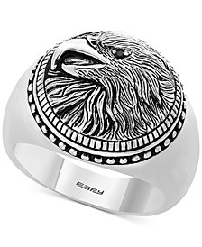 EFFY® Men's Black Spinel Eagle Ring in Sterling Silver
