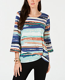 JM Collection Knot-Hem Printed Tunic, Created for Macy's