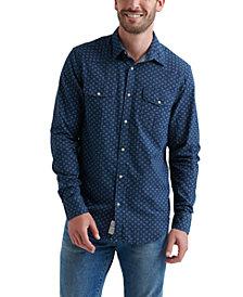 Lucky Brand Men's Indigo Micro Print Western Shirt