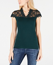 INC Lace-Trim Top, Created for Macy's