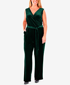 NY Collection Plus Size Sleeveless Faux-Wrap Velvet Jumpsuit