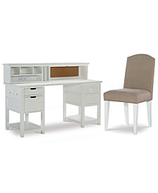 Study Hall Kid's Home Office Furniture, 3-Pc. Set (Junior Executive Desk, Hutch, & Upholstered Desk Chair)
