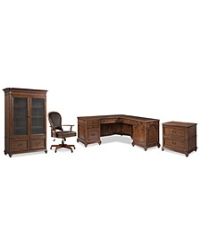 Clinton Hill Cherry Home Office, 4-Pc. Set (L-Shaped Desk, Lateral File Cabinet, Door Bookcase & Leather Desk Chair)